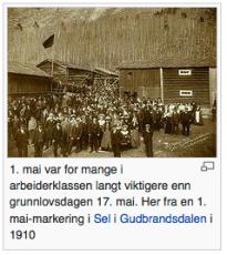 For mange er FORTSATT 1. mai viktigere enn 17. mai (her en illustrasjon fra Wikipedias artikkel om 1. mai)